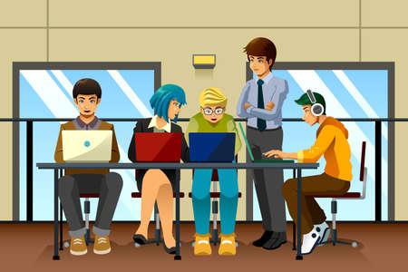 A vector illustration of different business people working together Ilustração