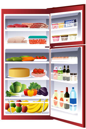 Una illustrazione vettoriale di interno di un frigorifero Vettoriali