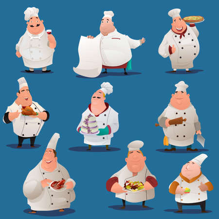 A vector illustration of Chef  characters