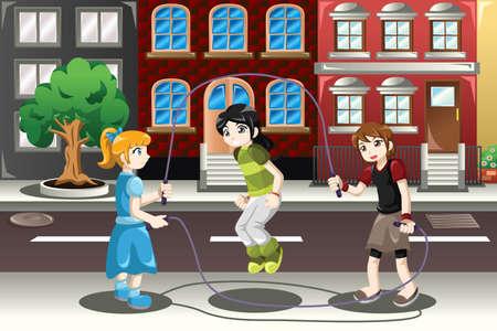 Una ilustración vectorial de niños felices jugando doble holandés