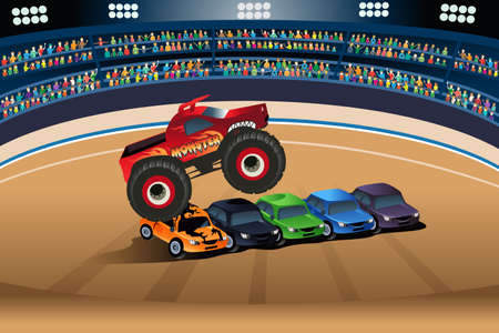 show: A vector illustration of monster truck jumping on cars
