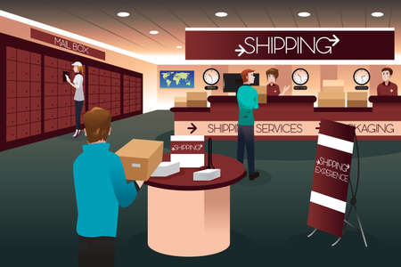 A vector illustration of scene inside a shipping store