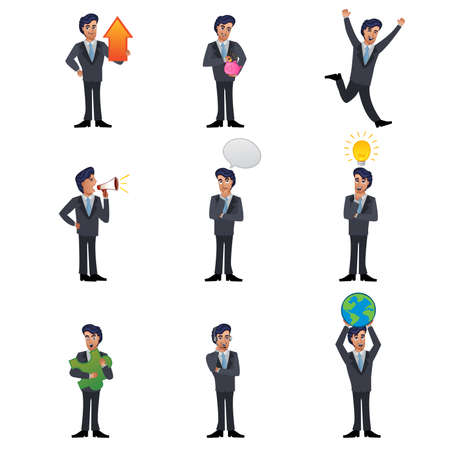 A vector illustration of businessman icon sets