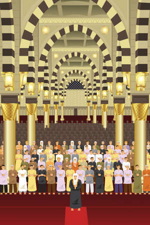 A vector illustration of Muslims praying together in a mosque