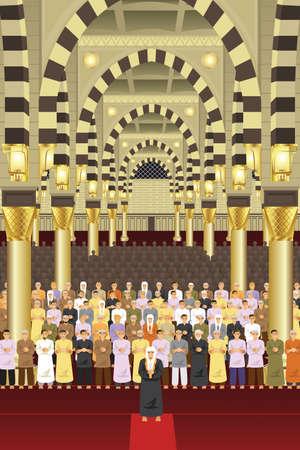 Una ilustración vectorial de musulmanes rezando juntos en una mezquita
