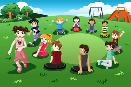 A vector illustration of happy kids playing duck duck goose in a park