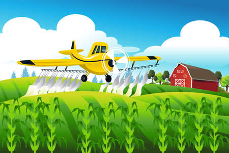 A vector illustration of crop duster flying over a field spraying pesticide