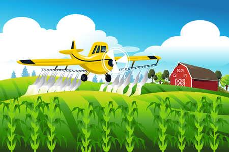 avion caricatura: Una ilustraci�n vectorial del vuelo avi�n fumigador sobre un pesticida campo pulverizaci�n