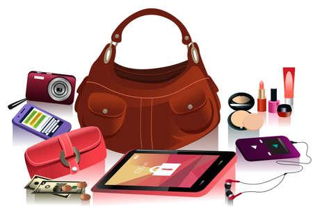 vrouw met tablet: A vector illustration of details of modern bag for female