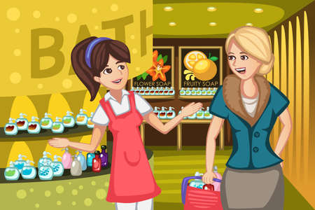 care worker: A vector illustration of women in a soap store