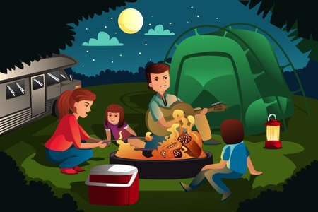 family vacations: A vector illustration of family camping in the forest