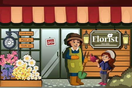 Een vector illustratie van de tuinman in een bloemenwinkel met kind