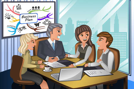 A vector illustration of business people in a meeting in the office