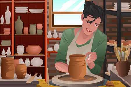 A vector illustration of stylish young woman working on a pottery