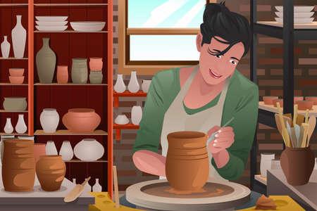 alfarero: Una ilustración vectorial de una mujer joven con estilo de trabajo en un taller de cerámica