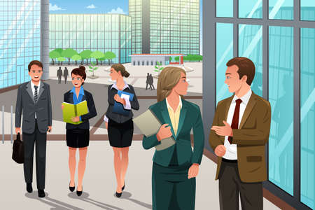 modern office: A illustration of business people walking and talking outside their office