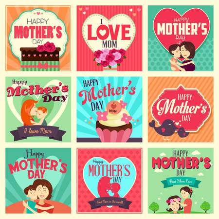 A illustration of Mothers day cards with ornament