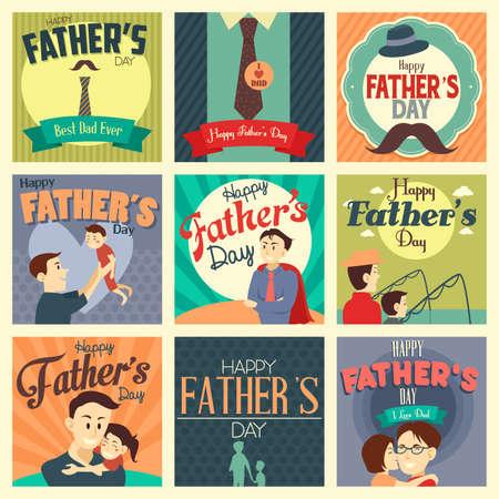 Una ilustración vectorial de tarjetas del día de padre con el ornamento