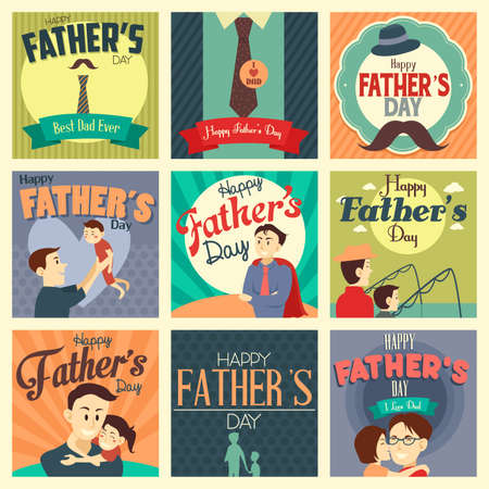 niños con pancarta: Una ilustración vectorial de tarjetas del día de padre con el ornamento