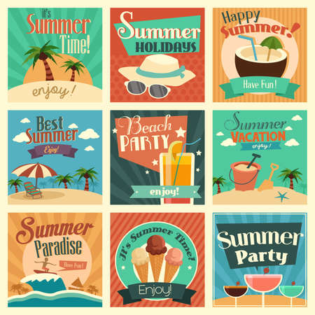 beach party: A vector illustration of summer icon sets