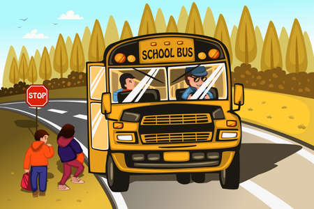 A illustration of school bus driver and kids