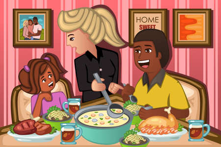 mixed family: A vector illustration of happy family eating dinner together