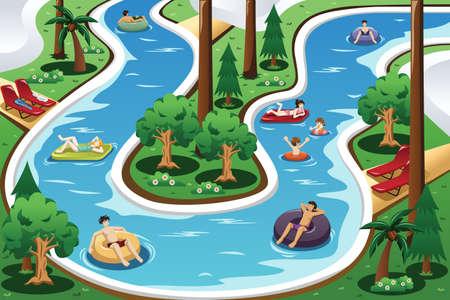 perezoso: Una ilustración vectorial de la gente que flota en una piscina de río lento