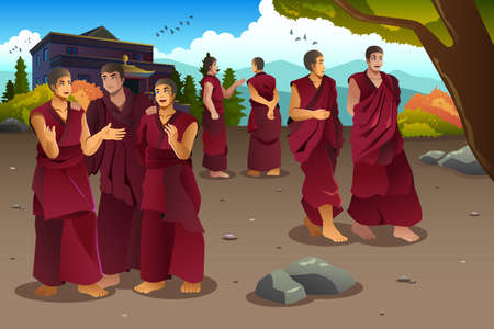 tibet: A illustration of Buddhist monks in Tibet temples