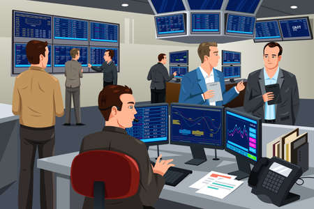 man working on computer: A illustration of financial stock trader working in a trading room