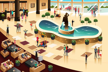 A illustration of scenes inside a hotel lobby