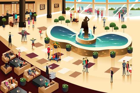 Een illustratie van scènes in een hotel lobby