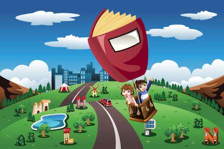 libros volando: Una ilustración de los niños que viajaban en un globo de aire caliente en forma de libro Vectores