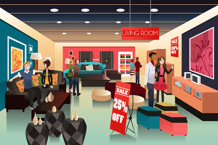 A illustration of people shopping in a furniture store
