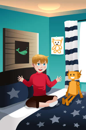 imaginary: A vector illustration of boy talking with his imaginary friend Illustration