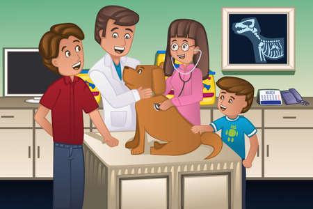 Een illustratie van een dierenarts onderzoekt een schattige hond Stock Illustratie