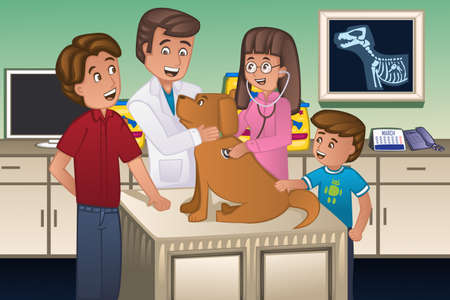A illustration of a veterinarian examining a cute dog