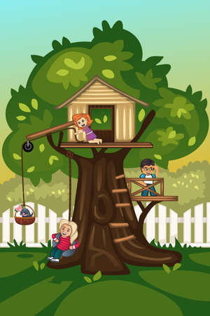 outside the house: A illustration of kids playing in a tree house
