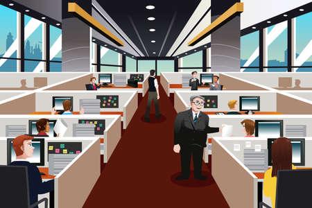 operarios trabajando: Una ilustración de las personas que trabajan en la oficina Vectores
