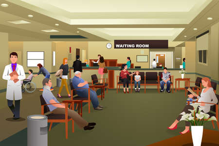 cartoon mensen: Een illustratie van de patiënten die wachten in een ziekenhuis wachtkamer