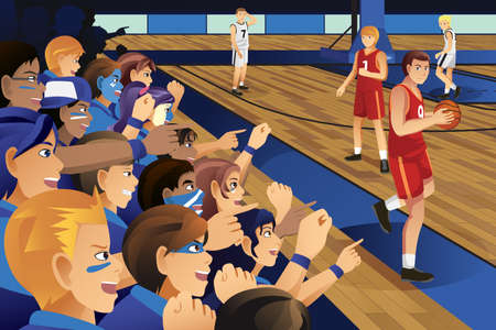 A illustration of college students cheering for their team in a basketball game