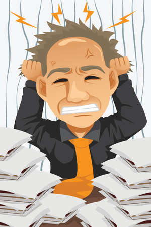 overwork: A illustration of tired and stressed businessman Illustration