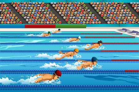 A illustration of swimmers during swimming competition for sport competition series 일러스트