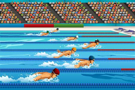 natacion: Una ilustración de los nadadores durante la competencia de natación de serie de la competición deportiva Vectores