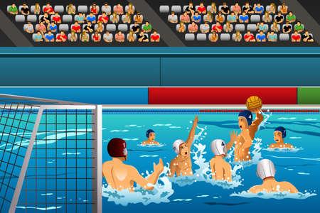 waterpolo: Una ilustraci�n de los atletas de polo acu�tico en un partido de serie de la competici�n deportiva