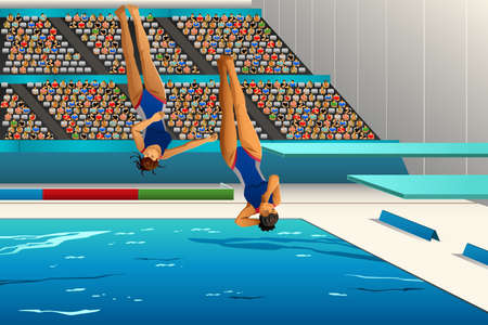 spectator: A illustration of divers diving into the pool for sport competition series Illustration