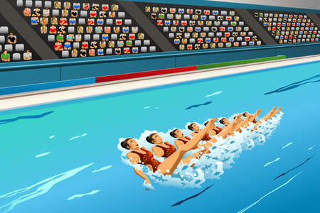 synchronized: A illustration of swimmers in synchronized swimming in action for sport competition series