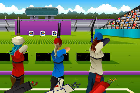 archer cartoon: A illustration of archers in the archery match for sport competition series