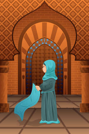 A illustration of a muslim woman praying in the mosque