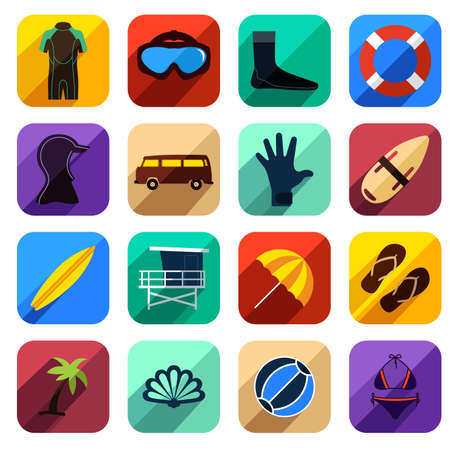 A illustration of beach icon sets Vector