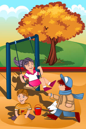 A illustration of happy kids playing in the playground Vector